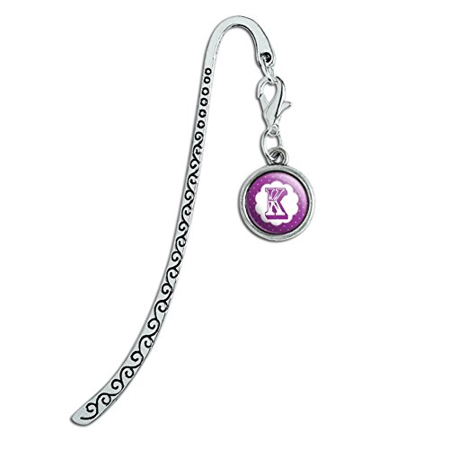 Metal Bookmark Page Marker with Charm Letter Initial Flower Purple - Letter K - Bookmark Flower Purple