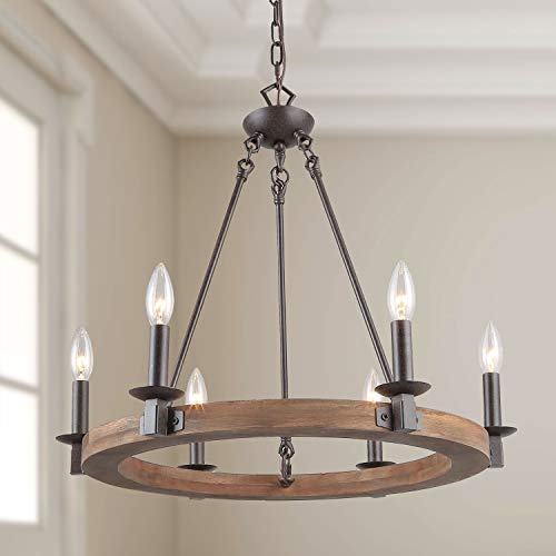 LNC 6-Light Transitional Chandelier Lighting Wood Chandelier Circular Pendant Lights E26