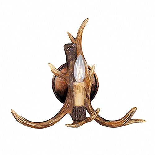 EFFORTINC Rustic Deer Horn Antler Wall Sconce 1 Light Fixtures ...