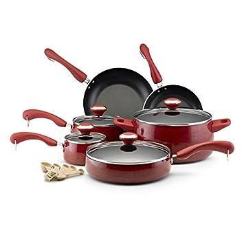 Paula Deen colección rojo moteado porcelana antiadherente (15 piezas): Amazon.es: Hogar