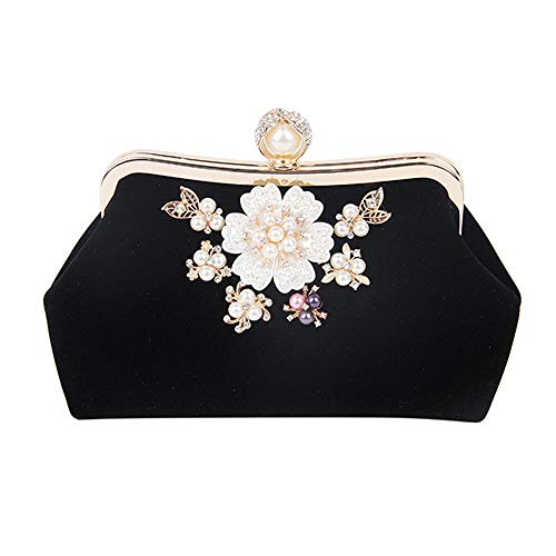 Design Flowers Luxury Evening Purse Chains Clutch Black Crystal Women Fashion Bags KLLXEB Shoulder Lady Party Pearl Bags Wedding Handbag wIXEaOq