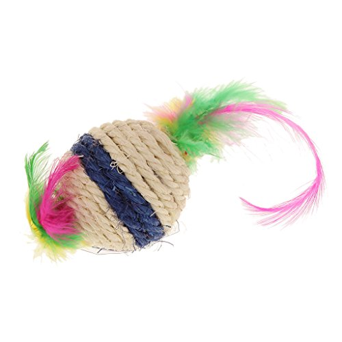Generic Balle Multicolore Corde de Sisal Griffoir Hochet Jouet à Plume pour Animal Chat Chaton