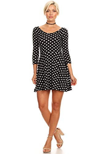 Simlu Womens Casual Short and 3/4 Sleeve Fit and Flare A Line Skater Dress Reg and Plus Size (Size Medium US 2-4, Big Black Dots)