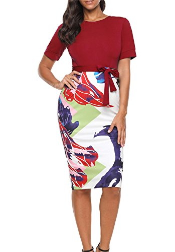 BETTE BOUTIK Women's Below Knee Classic Dress Office Lady Dress with Belted Red (Woman Printed Belted Dress)