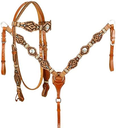 Western Tan Leather Hand Tooled Stones Studded Headstall with Leather Ties