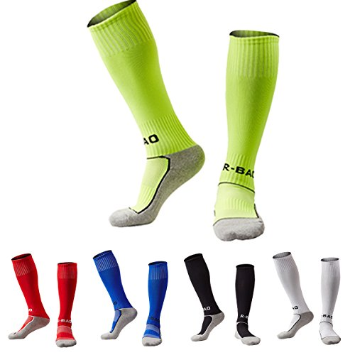 5 Pack Soccer Socks for Kid Knee High Cotton Athletic Team Tube Socks Towel Bottom Pressure Football Socks (Lime Green/Red/Royalblue/Black/White) (Knee Socks Youth High)