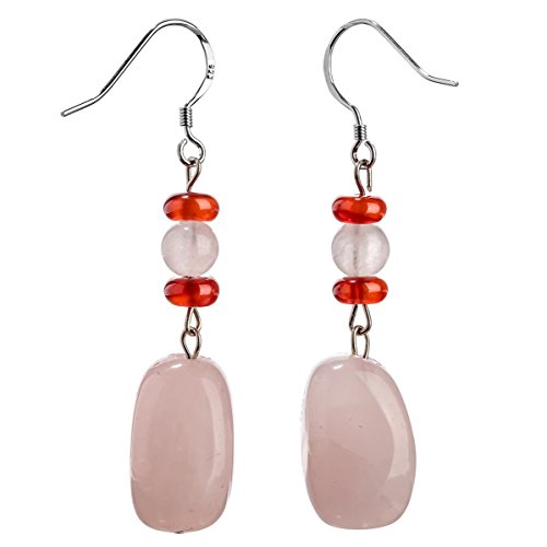 YACQ Sterling Silver Rose Quartz Carnelian Gemstone Dangle Earrings Handcrafted Jewelry for Women (rose quartz)