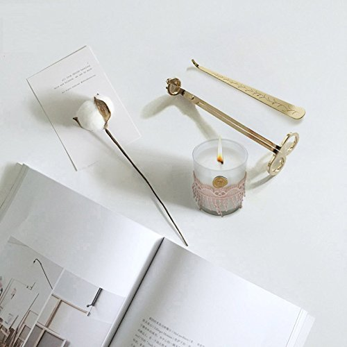 Chris.W Antique 3 in 1 Candle Accessories Set with Candle Bell Snuffer, Wick Trimmer and Wick Dipper in - Stainless Steel(Gold)