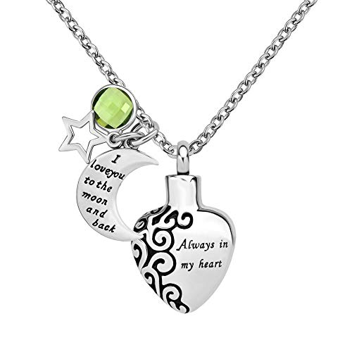 LoEnMe Jewelry Birthstone Heart with Moon Star Natural Aug. Crystal Pendant Cremation Urn Necklace for Ashes Keepsake Memorial. for Mom Dad Pets (August-Green) ()