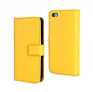 Fashion Premium Genuine Plain Weave Leather Folio Flip Case Cover with Stand for Apple iphone 5C (Yellow)