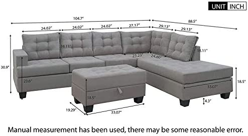 home, kitchen, furniture, living room furniture,  living room sets 8 on sale Merax Sectional Sofa with Chaise and Ottoman 3 promotion