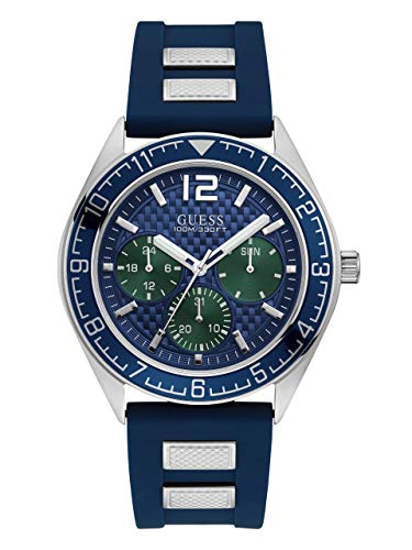 GUESS Men's Quartz Stainless Steel and Silicone Casual Watch, Color:Blue (Model: U1167G1)