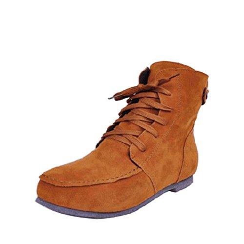 Womens Camel Boots Flat (Donalworld Women Ancke Round Toe Flat Manmade Leather Martin Boots Camel US 8)