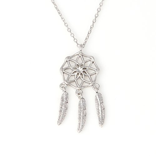 "LAONATO .925 Sterling Silver Dreamcatcher Pendant Necklace, 16.5"" (WhiteGold)"