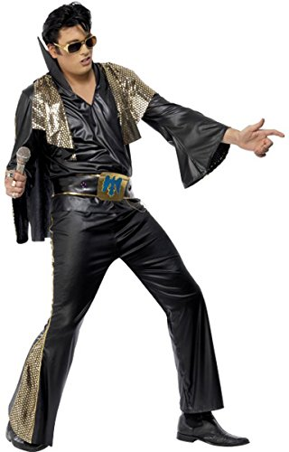 Mens Fancy Dress Party 1950s Rock Star Elvis Presley Black & Gold Costume Outfit