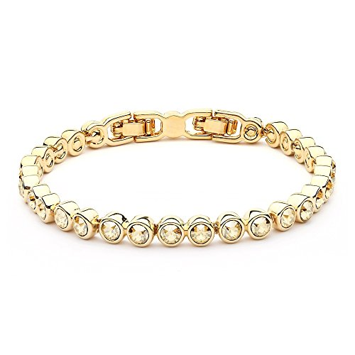 MYJS Tennis 16k Gold Plated Classic Bracelet with Golden Shadow Swarovski Crystals , 17+2cm Extender Golden Shadow Crystal Bracelet