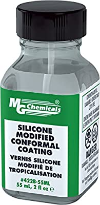 MG Chemicals Silicone Modified Conformal Coating, 55 ml Glass Bottle, with Brush Cap