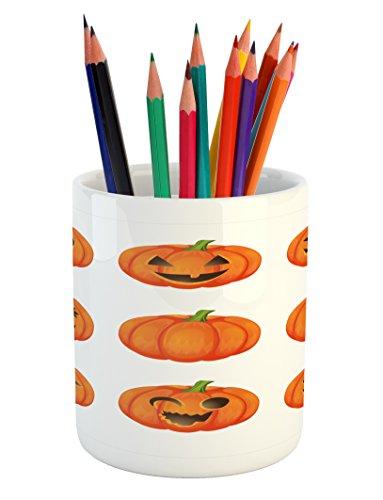 Lunarable Pumpkin Pencil Pen Holder, Jack o Lanterns with Various Face Expressions Winking Smiling Sad Surprised Image, Printed Ceramic Pencil Pen Holder for Desk Office Accessory, Orange Green -