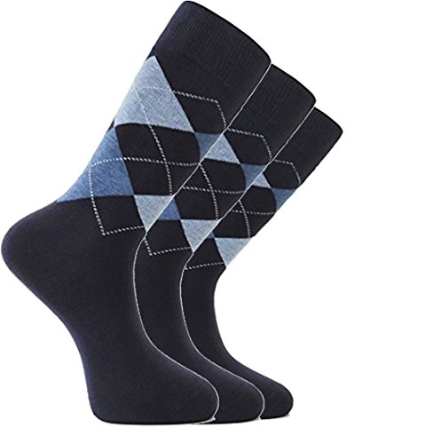 LAETA Men's Colorful Argyle Fancy Design Fashion Dress Socks Crews Size (Navy (3 Pack))