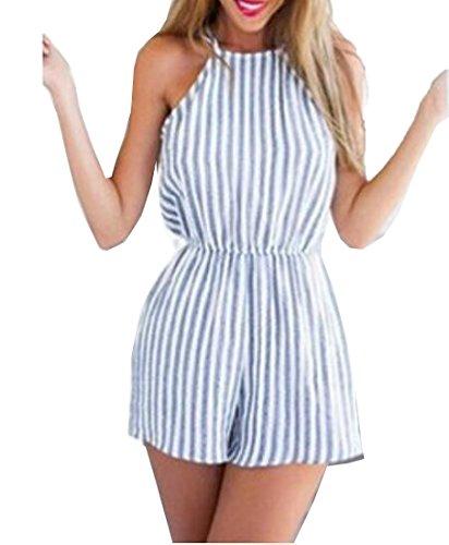 Pamelas Women Halter Top Striped Mini Playsuit Jumpsuit Summer Short Rompers 1 M