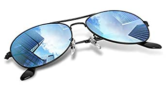 Small Aviator SunglassesPolarized for Adult and kids, Wenlenie Women Shades Black Metal with Blue Gradient Mirror Lens