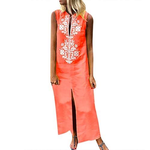 ASOBIMONO Women's Boho Painted Cotton Linen Long Dresses Deep V Neck Sleeveless Front Split Baggy Kaftan Maxi Dress Orange