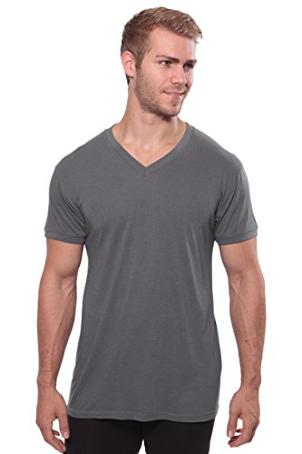 Texere Men's V-Neck Undershirt (Single Pack, Charcoal, XX-Large) Best Leisurewear for Him MB6002-CHR-XXL
