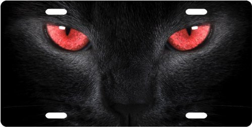 Red Cat Eyes License Plate Novelty Tag from Redeye - Cats Eye Red