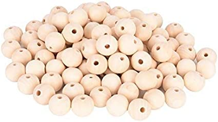 100 Wood Beads 25mm