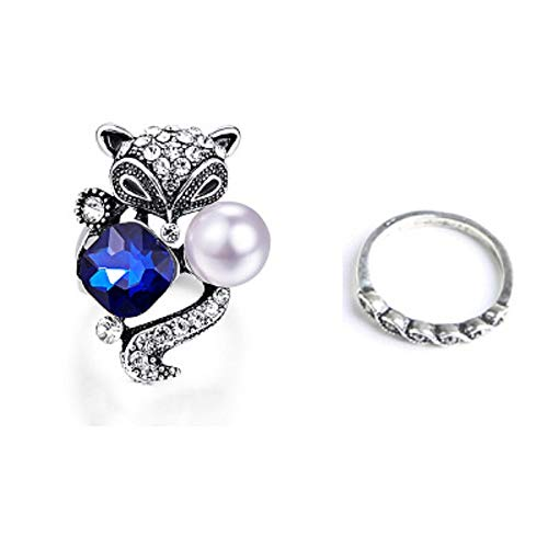 Maanii Leaf Fox Blue Crystal Butterfly Design Rings Alloy Statement Chunky Retro Vintage Ring for Women Jewelry (Style 2, 9)