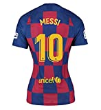 10 Messi Women Jersey 2019-2020 Season - Barcelona Lionel Messi Home Soccer Jersey Red/Blue (Red/Blue, S for Womens)