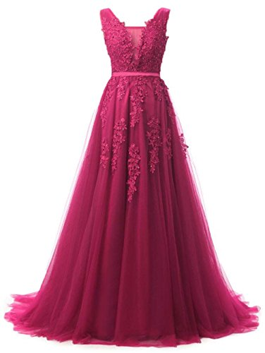 Women Prom Dresses Long Formal Evening Gown V Neck A Line Fuchsia,16