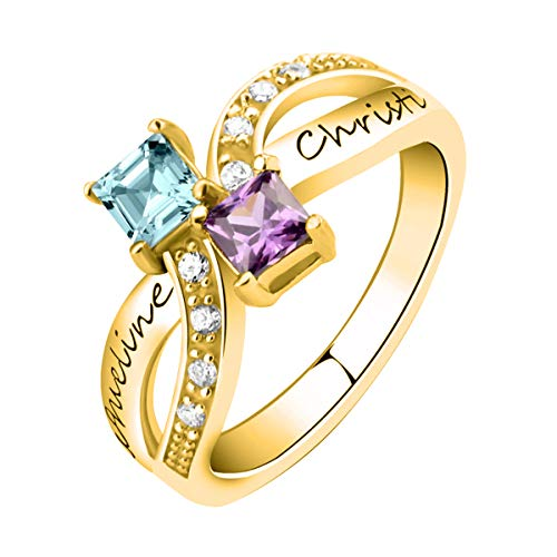 Quiges 18K Gold Plated Silver 2 CZ Birthstone Personalized Engraved Name Vintage Infinity Custom Fine Criss Cross Ring Size 5.5