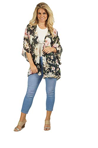 Women's 3/4 Sleeve - Floral Chiffon Rose Kimono, Cardigan, Blouse Bathing Suit Cover Up (Sizes S, M, L) Made in The USA (Black/Pink, Medium)
