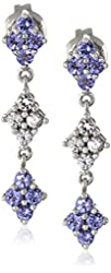 10k White Gold Tanzanite and Created White Sapphire Earrings