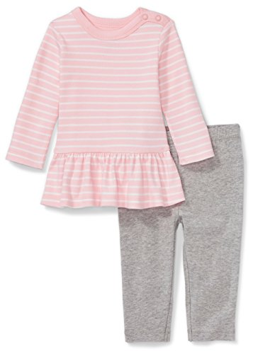 (Moon and Back Baby Girls' Organic 2-Piece Dress and Legging Set, Pink Blush, 12 Months)