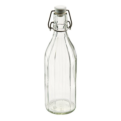Leifheit 03180 Reusable Glass Bottle with Shackle Lock Stopper | Clear ()