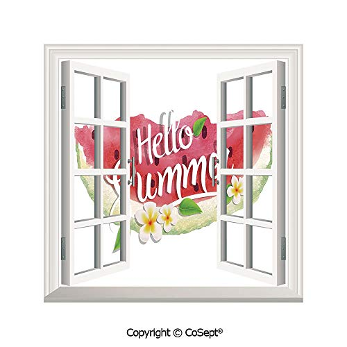 SCOXIXI Open Window Wall Mural,Hello Summer Motivational Quote with Fresh Watermelon and Poppies Picture,for Living Room(25.86x22.63 - Poppy Syracuse