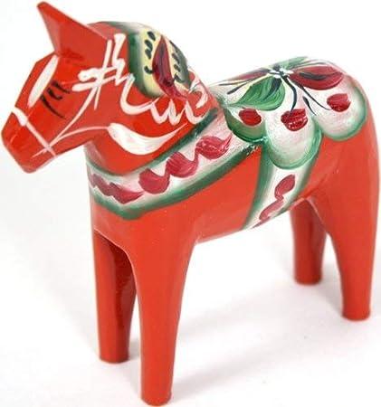 "Traditional Wooden Swedish Dala Horse Black 4/"" 10cm"