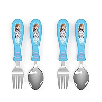 Zak Designs Disney Flatware Enjoyable Character Artwork on Each Utensils Non Slip Fork and Spoon Set is Excellent for Encouraging Choosy Youngsters to End Their Plates (2 pk, BPA-Free), Frozen 2 Anna and Elsa