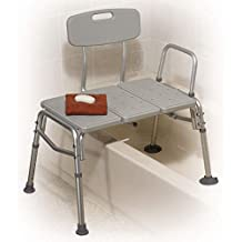 Drive Medical Plastic Tub Transfer Bench with Adjustable Backrest, Gray