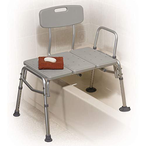 Drive Medical Plastic Tub Transfer Bench with Adjustable Backrest, Gray ()