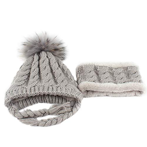 Nacome Baby Girls Boys Winter Knitted Beanie Hat Scarf Earflap Hood Scarves Skull Caps (Gary)