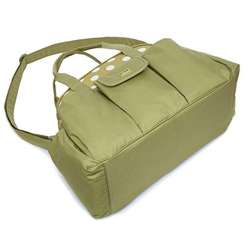 mengma 2colores para pañales de nailon impermeable bolso Hobos bebé lactancia Messenger Bag madres clasificación bolsa bolsa de viaje con cierre de cremallera verde verde Talla:mediano verde