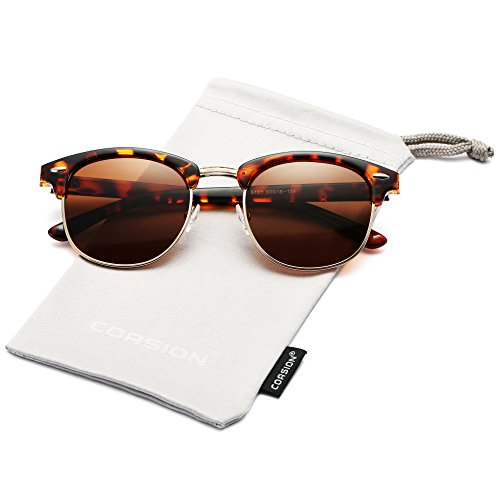 Retro Polarized Semi Rimless Clubmasters Sunglasses COASION Horn Rimmed Shades for Men Women (Spotted Brown Havana, - Polarized Clubmasters