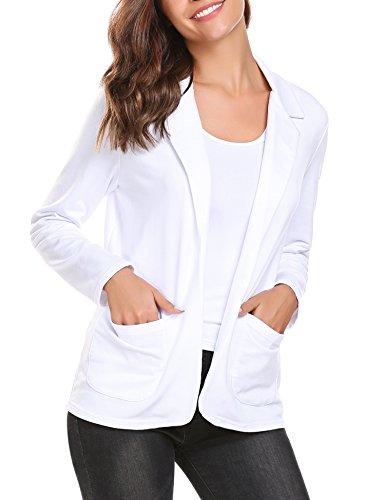 Ouyilu Women's Cotton Long Sleeve Slim Short Blazer Suit Jacket (Pure ()