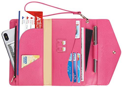 Travelambo Rfid Blocking Passport Holder Wallet & Travel Wallet Envelope Various Colors (CH Red Rose) ()
