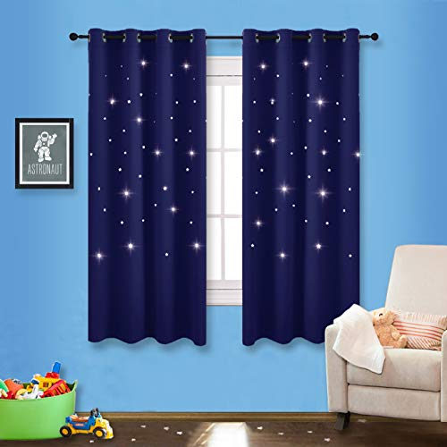 NICETOWN Romantic Starry Sky Curtains - Space Inspired Night Sky Twinkle Star Kid's Room Draperies, Creative Blackout Window Drapes for Teenagers Bedroom (Set of 2, 52 x 63 Inch, Dark Blue) ()