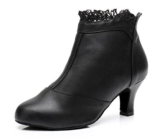 MGM Joymod Piel Black leather 6cm Punta Mujer Abierta de qwAp1Fq