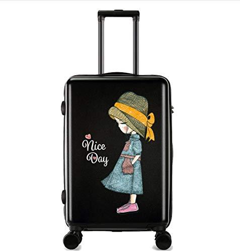 ShiMin 漫画の印刷傷防止トロリーケース女性の小さな新鮮な大学生のスーツケース24インチのスーツケース (Color : ブラック)  ブラック B07MQ5Y84J